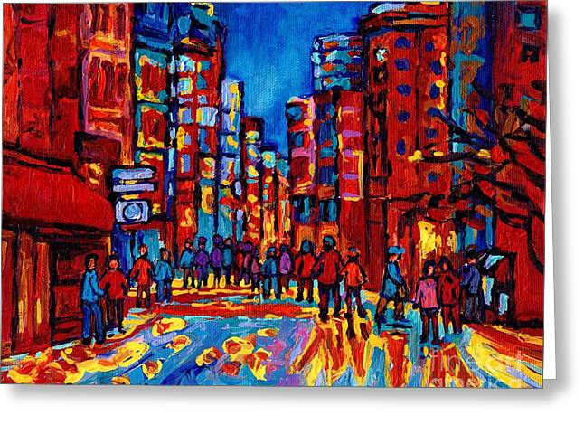 Take-out Greeting Cards - City After The Rain Greeting Card by Carole Spandau