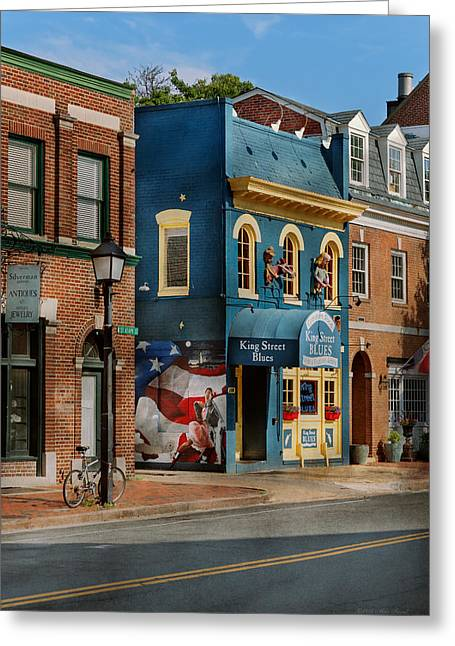 City - Alexandria, Va - King Street Blues Greeting Card by Mike Savad