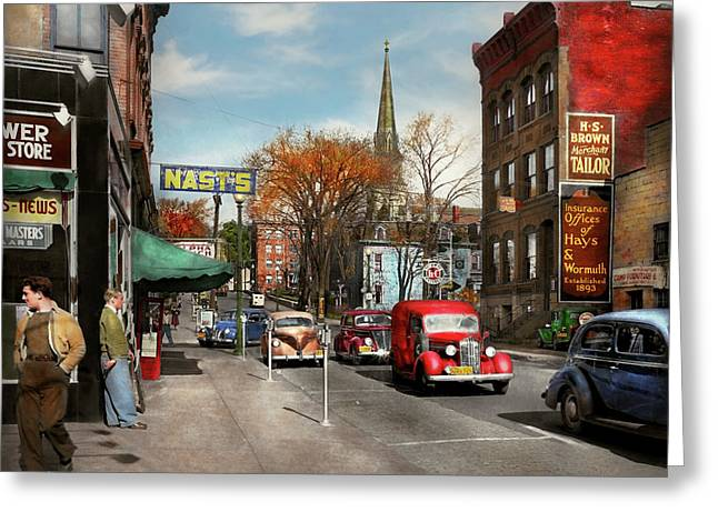 Greeting Card featuring the photograph City - Amsterdam Ny - Downtown Amsterdam 1941 by Mike Savad