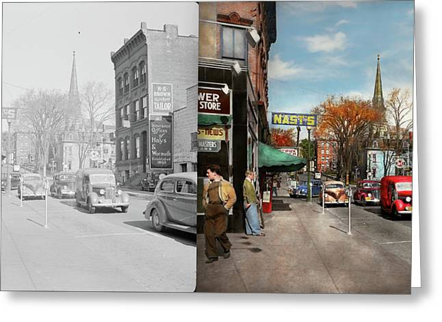 Greeting Card featuring the photograph City - Amsterdam Ny - Downtown Amsterdam 1941- Side By Side by Mike Savad