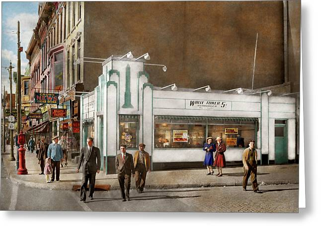 City - Amsterdam Ny - Hamburgers 5 Cents 1941 Greeting Card by Mike Savad
