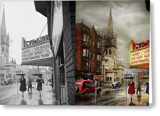 City - Amsterdam Ny - Life Begins 1941 - Side By Side Greeting Card