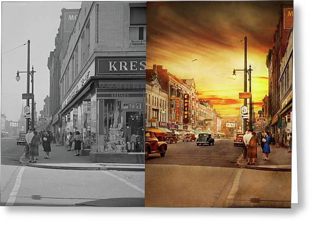 Greeting Card featuring the photograph City - Amsterdam Ny - The Lost City 1941 - Side By Side by Mike Savad