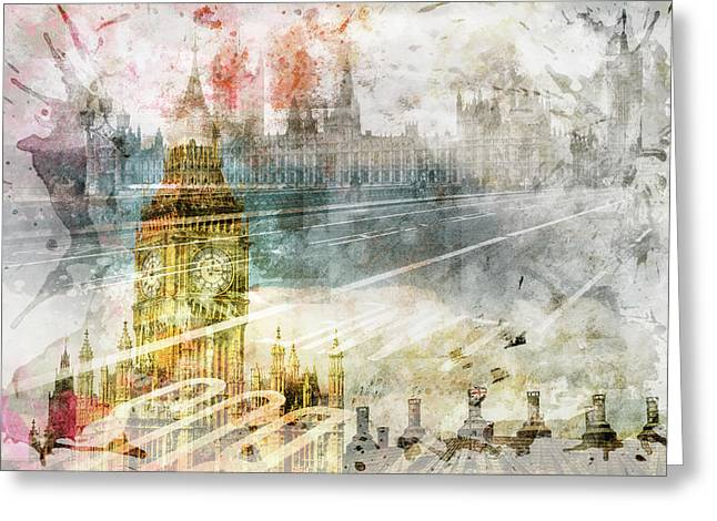 City Art Big Ben And Westminster Bridge II Greeting Card by Melanie Viola