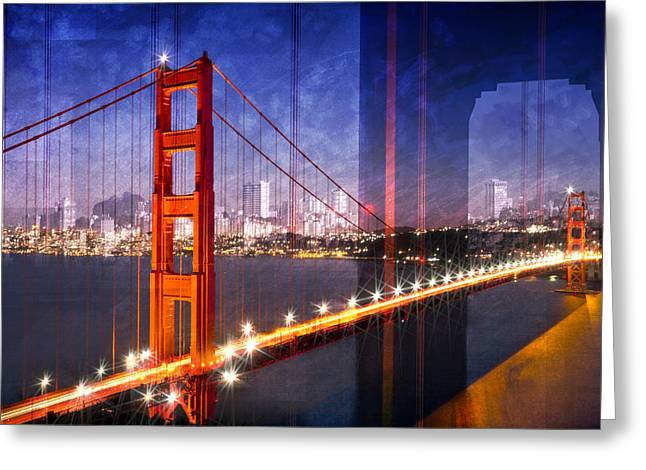 City Art Golden Gate Bridge Composing Greeting Card
