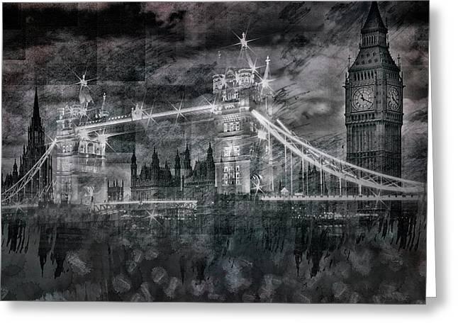 City-art London Tower Bridge And Big Ben Composing Bw  Greeting Card by Melanie Viola