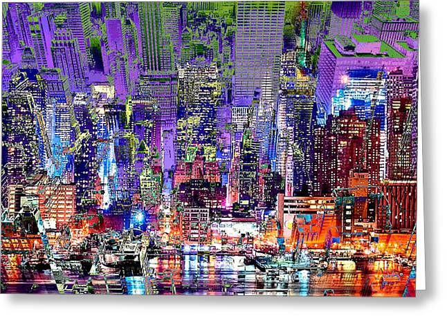 City Art Syncopation Cityscape Greeting Card by Mary Clanahan