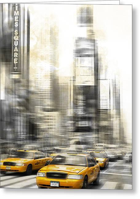 City-art Times Square Greeting Card by Melanie Viola