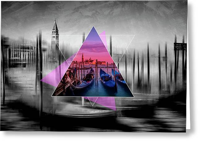 City Art Venice Canal Grande And Gondolas At Sunset - Geometric Collage II Greeting Card by Melanie Viola