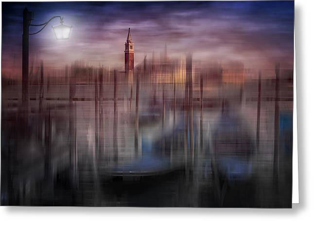 City-art Venice Gondolas At Sunset Greeting Card