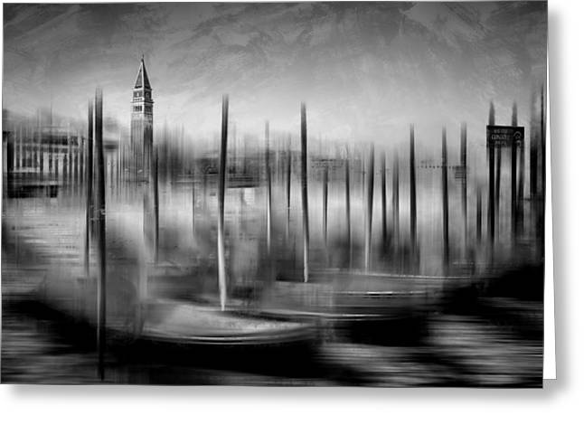 City-art Venice Grand Canal And St Mark's Campanile Monochrome Greeting Card by Melanie Viola