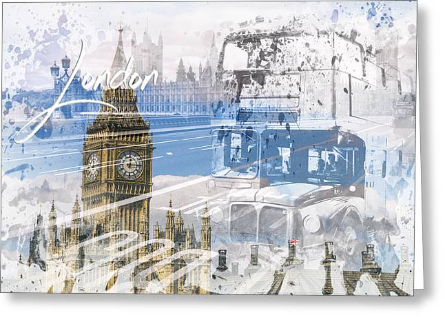 City Art Westminster Collage Greeting Card by Melanie Viola