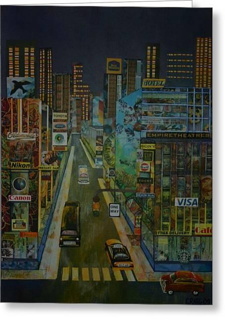 City At Night Greeting Card by Bob Craig