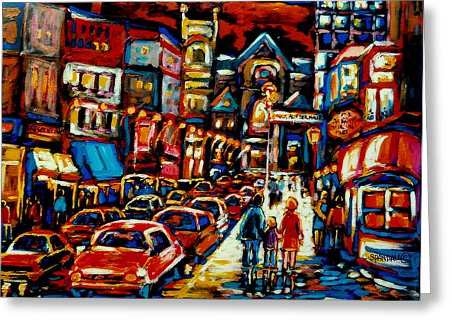 City At Night Downtown Montreal Greeting Card by Carole Spandau