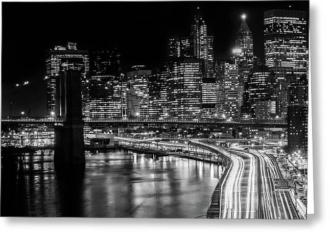 City At Night Greeting Card by Erik Sverdlov