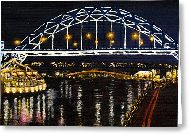 Marina Night Greeting Cards - City at Night Greeting Card by Svetlana Sewell