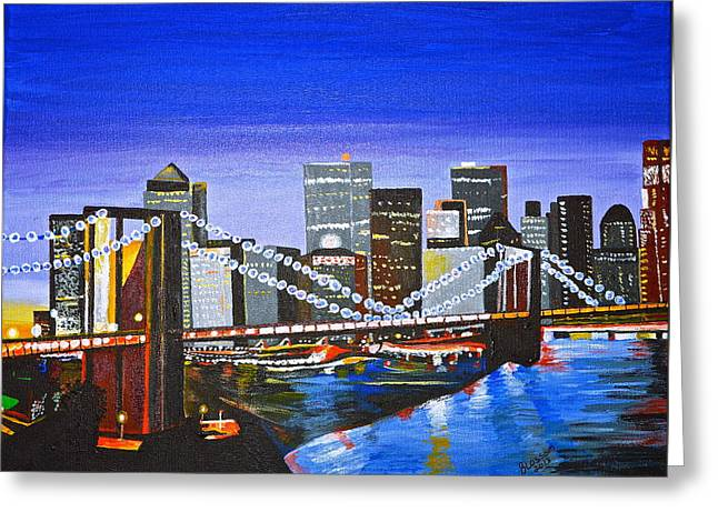 City At Twilight Greeting Card by Donna Blossom