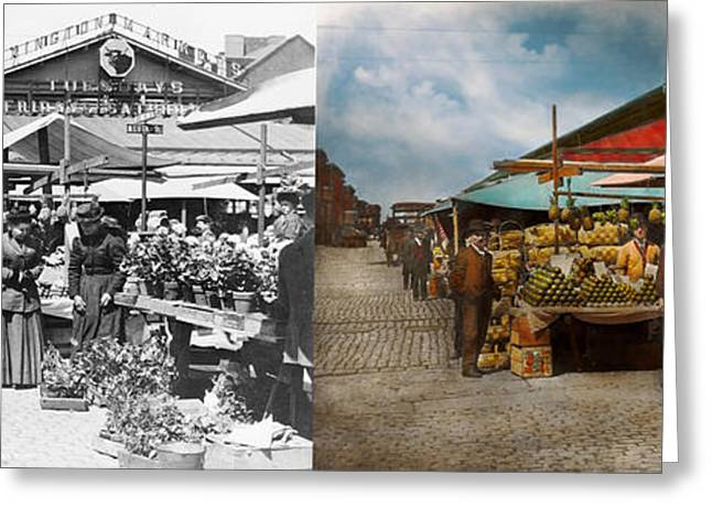 City - Baltimore Md - Lexington Market Baltimore Maryland 1850 - Side By Side Greeting Card by Mike Savad