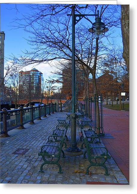 City Benches Greeting Card