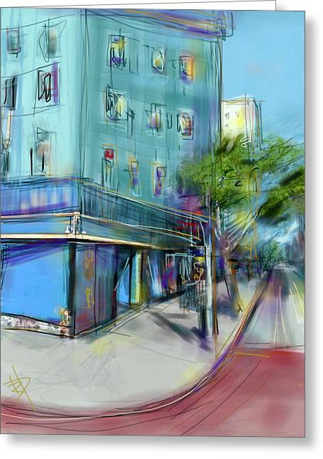 City Blue Greeting Card by Russell Pierce