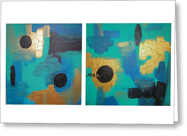 City Blues  Greeting Card by Distinctive Abstracts