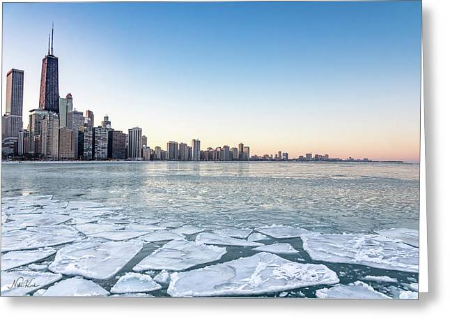 City By The Frozen Lake Greeting Card