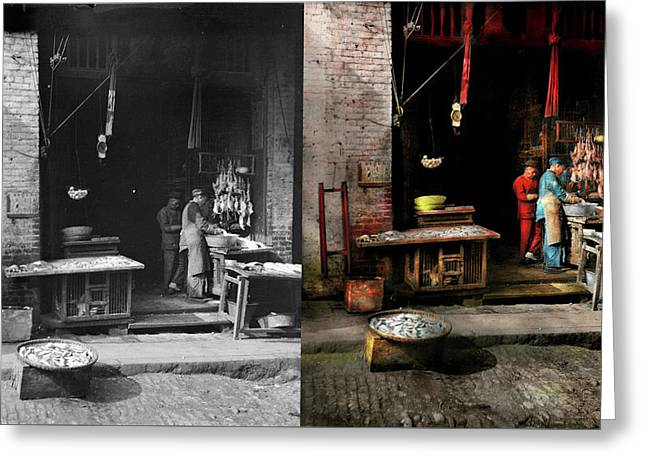 City - California - Fish Alley Smells Fowl 1886 - Side By Side Greeting Card by Mike Savad