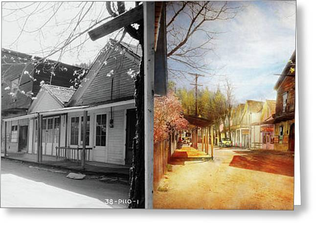 City - California - The Town Of Downieville 1933- Side By Side Greeting Card by Mike Savad