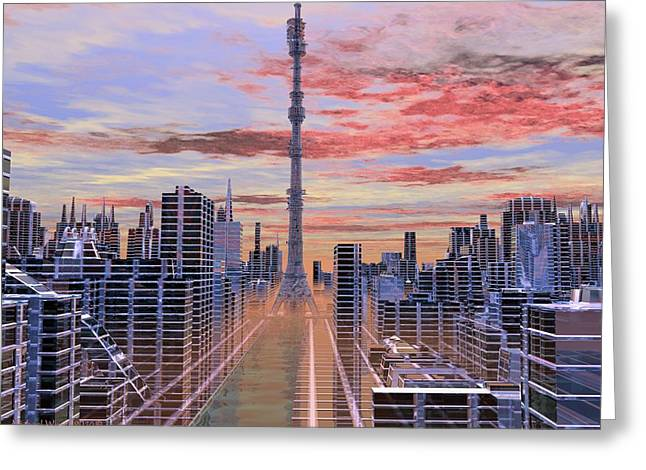 City Center Tower Greeting Card by Michael Wimer