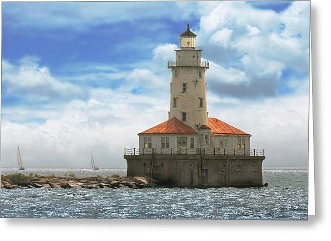 City - Chicago Il - Chicago Harbor Lighthouse Greeting Card