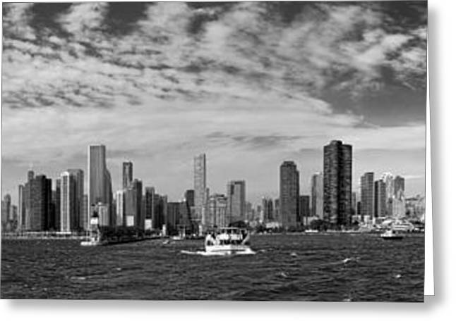 City - Chicago Il -  Chicago Skyline And The Navy Pier - Bw Greeting Card by Mike Savad