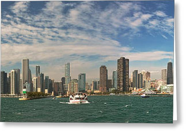 City - Chicago Il -  Chicago Skyline And The Navy Pier Greeting Card by Mike Savad