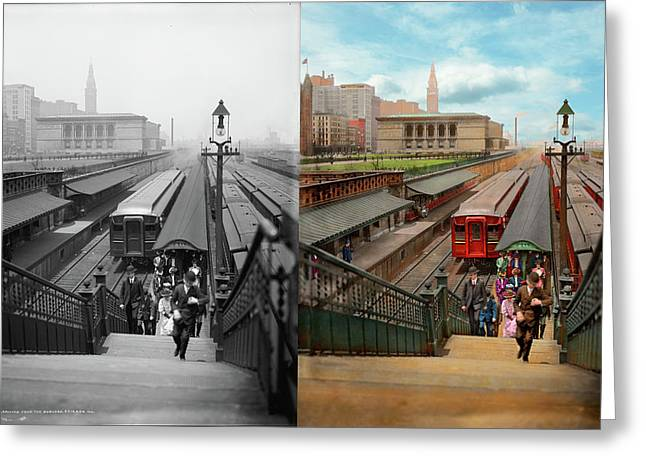 City - Chicago - The Van Buren Street Station 1907 - Side By Side Greeting Card