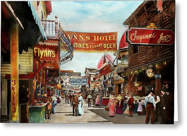 City - Coney Island Ny - Bowery Beer 1903 Greeting Card by Mike Savad