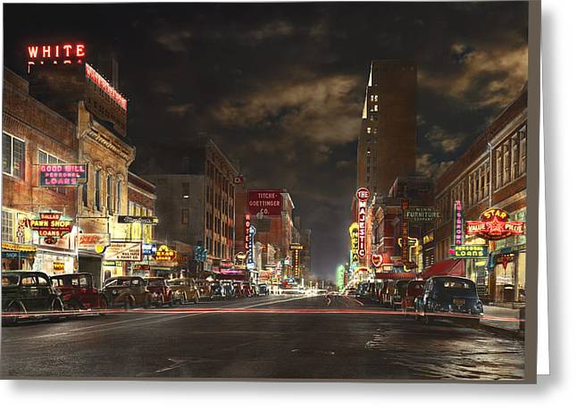 City - Dallas Tx - Elm Street At Night 1941 Greeting Card by Mike Savad