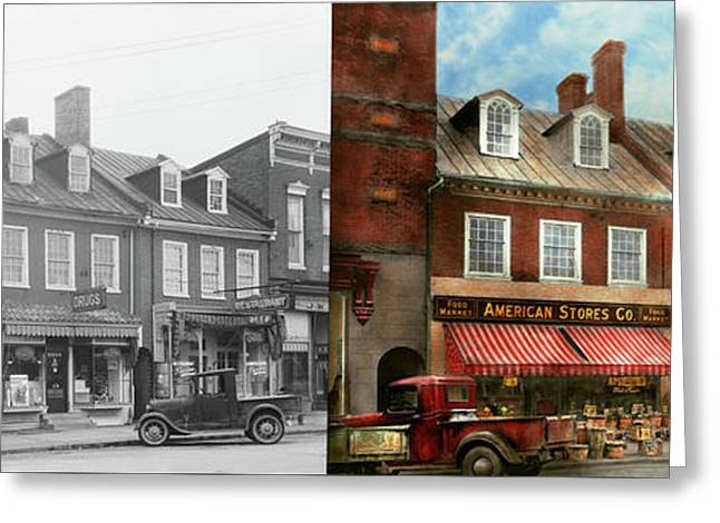 City - Easton Md - A Slice Of American Life 1936 - Side By Side Greeting Card by Mike Savad