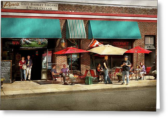 Greeting Card featuring the photograph City - Edison Nj - Pino's Basket Shop by Mike Savad