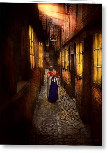 City - Germany - Alley - A Long Hard Life 1904 Greeting Card by Mike Savad