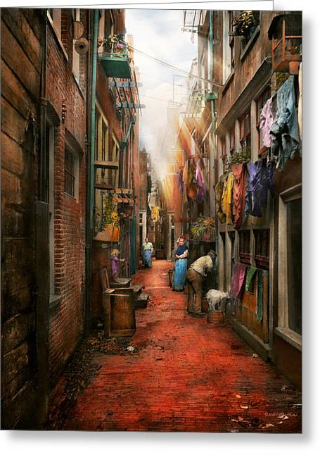 City - Germany - Alley - The Other Half 1904 Greeting Card by Mike Savad