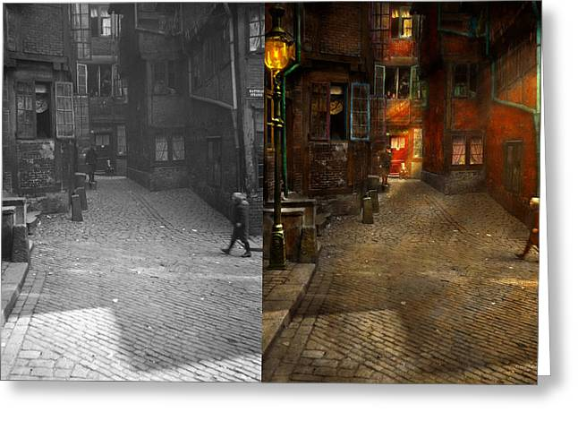 City - Germany - On A Corner Street 1904 - Side By Side Greeting Card