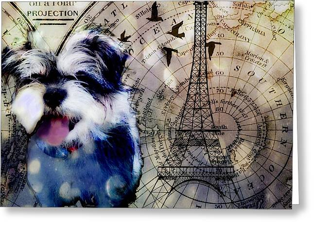 Greeting Card featuring the digital art City Girl Goes To Paris by Delight Worthyn