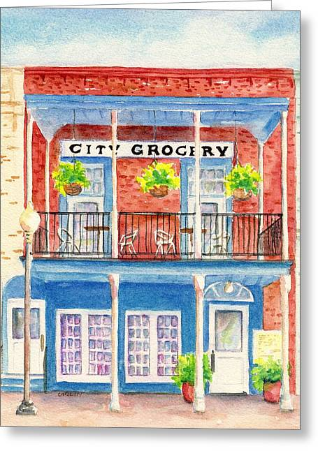 Greeting Card featuring the painting City Grocery Oxford Mississippi  by Carlin Blahnik CarlinArtWatercolor