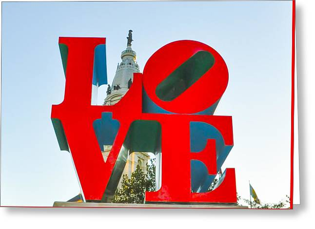 City Hall Behind The Love Statue Greeting Card by Bill Cannon