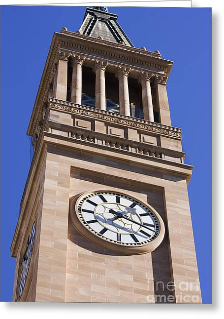City Hall Clock Tower Greeting Card by Jorgo Photography - Wall Art Gallery
