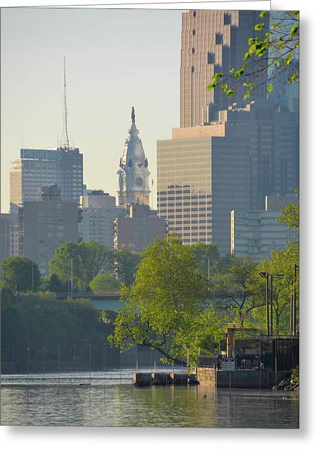 City Hall From The Schuylkill River Greeting Card by Bill Cannon