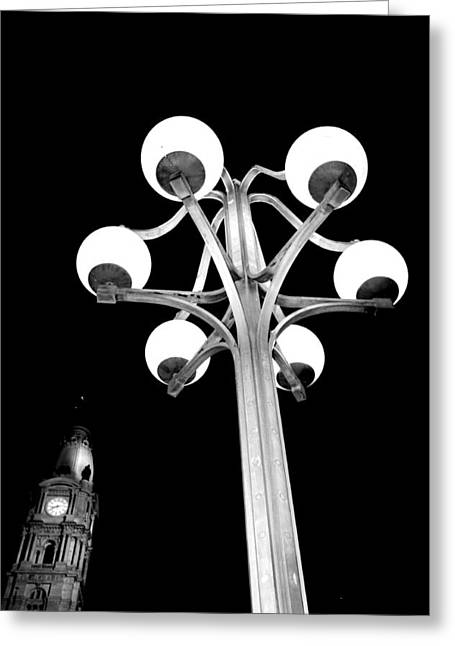 City Hall Lamp Greeting Card by Andrew Dinh