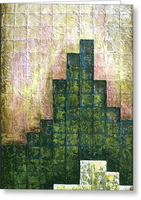 City In Green Greeting Card by Shadia Derbyshire