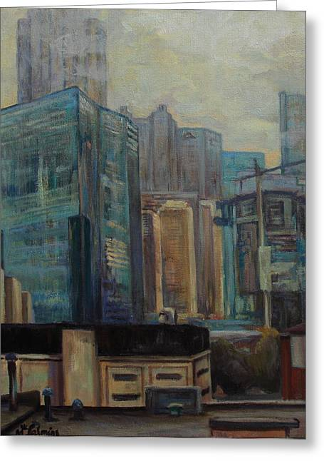 City In The Cityscape Greeting Card by Maris Salmins