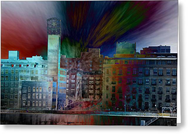 City In Transmission Greeting Card by John Ricker