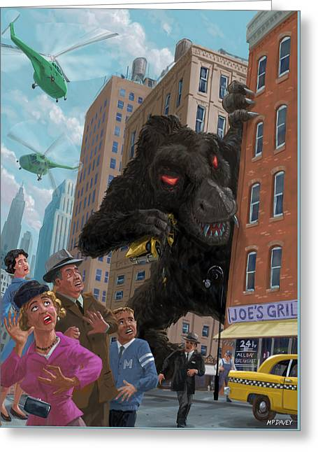City Invasion Furry Monster Greeting Card